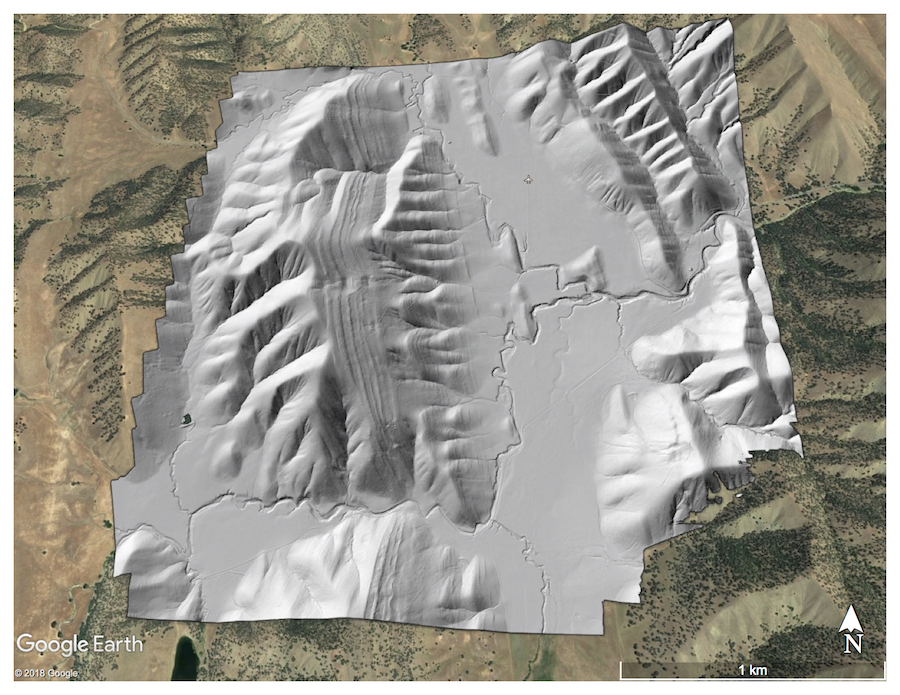 Bare Earth Hillshade over Antelope Valley Ranch, CA.  Image Draped over Google Earth Imagery